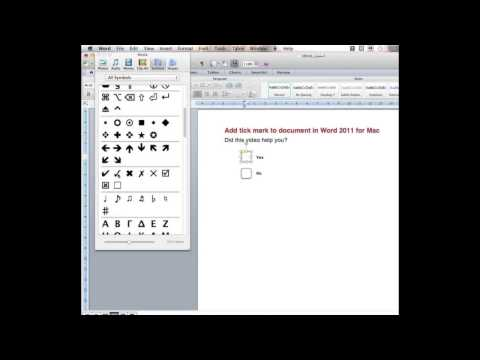Add tick mark to document in Word 2011 for Mac