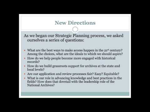 Strategic Planning at the National Historical Publications and Records Commission