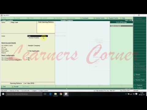 petty cash ledger creation in tally erp 9 version 5 5 youtube
