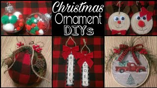 DIY Rustic Christmas Ornaments • ornament DIYs for kids + buffalo check and red truck