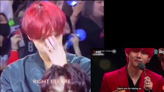 (eng subs) 181214 Wanna One Jihoon reaction to BTS 'Artist of the Year' speech @MAMA