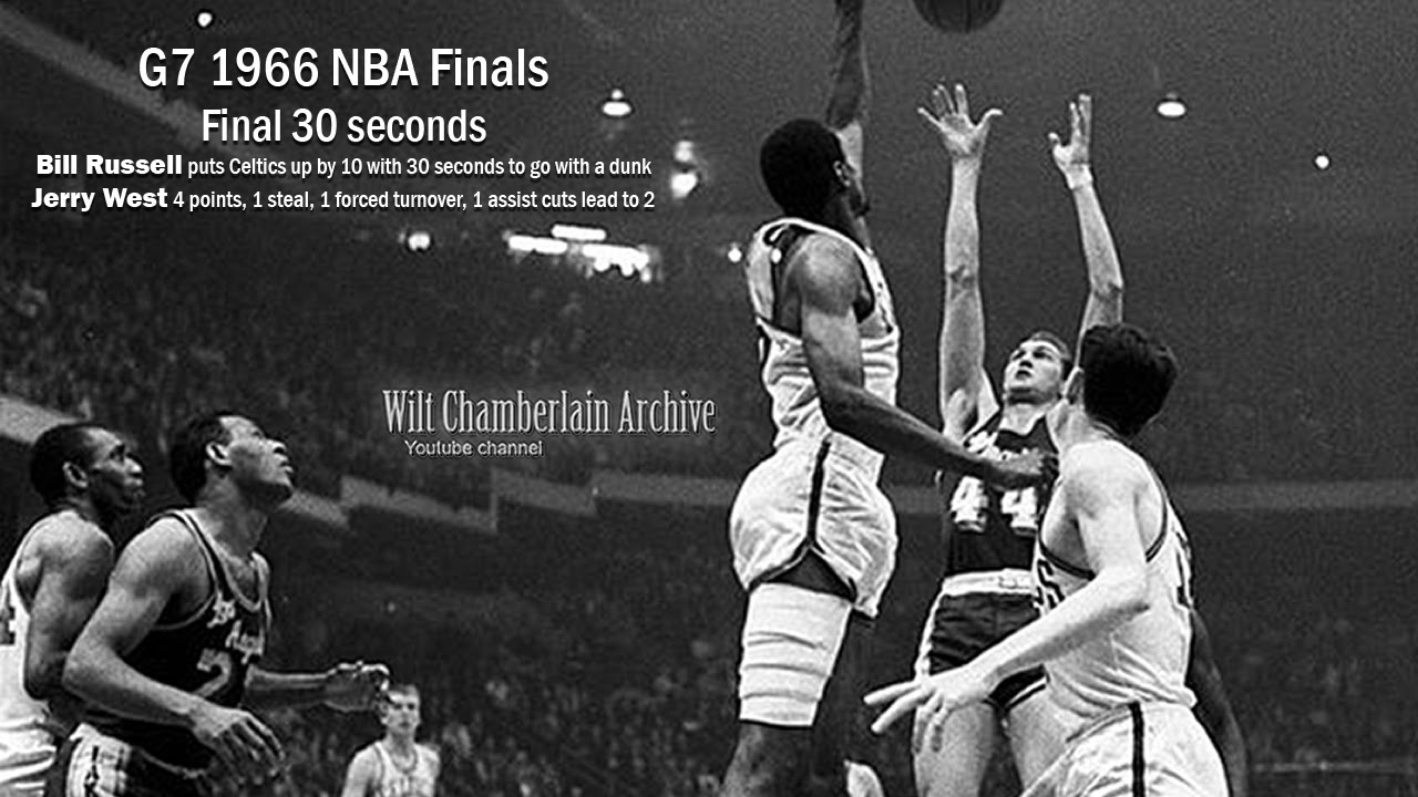 1966 NBA Finals G7 final 30 seconds (with Bill Russell and CLUTCH Jerry West) - YouTube