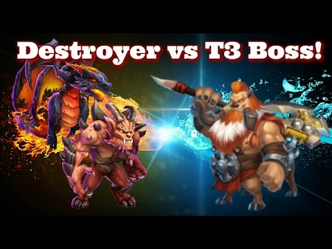 Castle Clash Destroyer Vs T3 Boss!