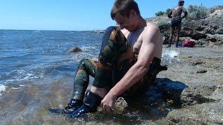 Подводная охота, первый опыт. (прикол)