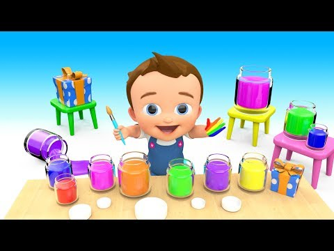 Learn Colors for Children with Baby Hand Paint Brush Colours 3D Kids Learning Educational Video