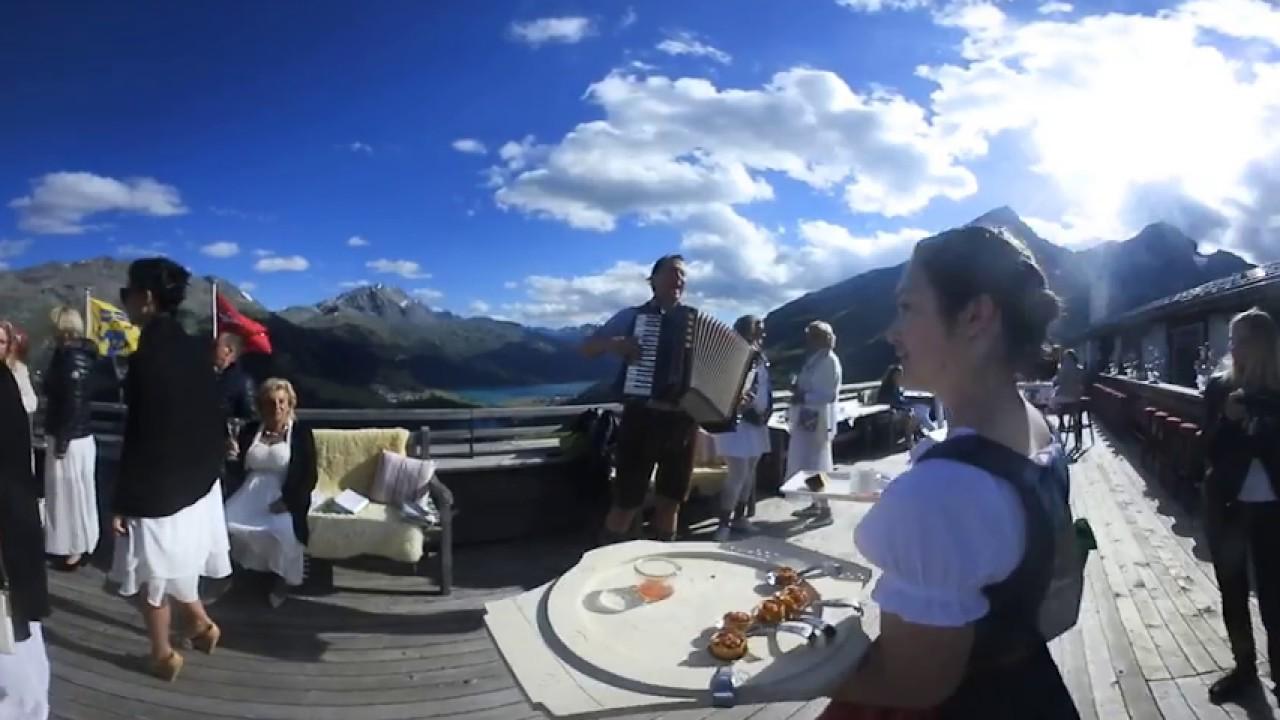 Traumhaftes St. Moritz (Schweiz): bayerische Musik in den Bergen in 360° (Nikon Keymission 360)