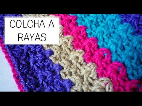 Colcha a rayas tejida a crochet ideal beb s paso a - Mantas de crochet paso a paso ...