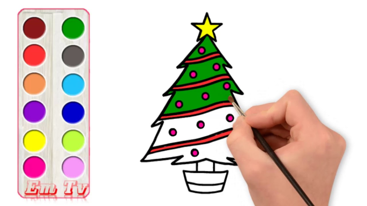 Glitter Christmas Tree Painting Pages For Kids Coloring Tree With