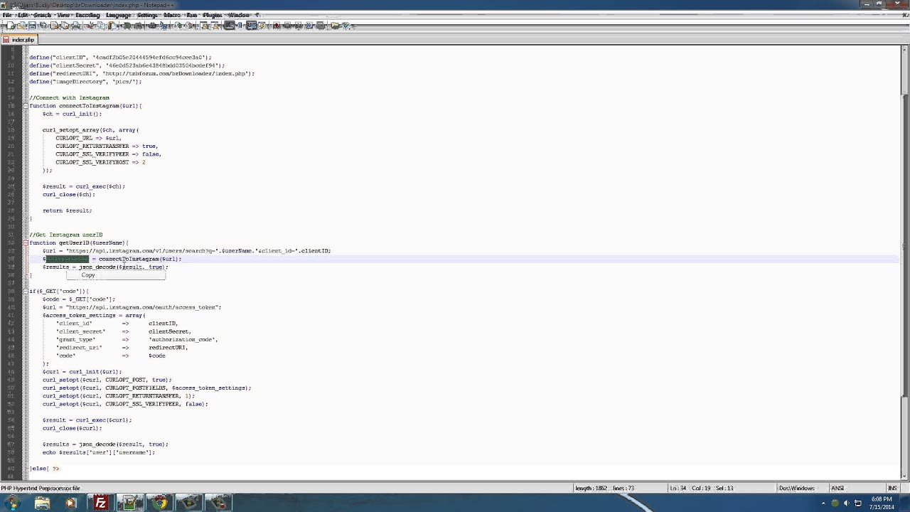 PHP Instagram Downloader Tutorial - 8 - Getting the userID