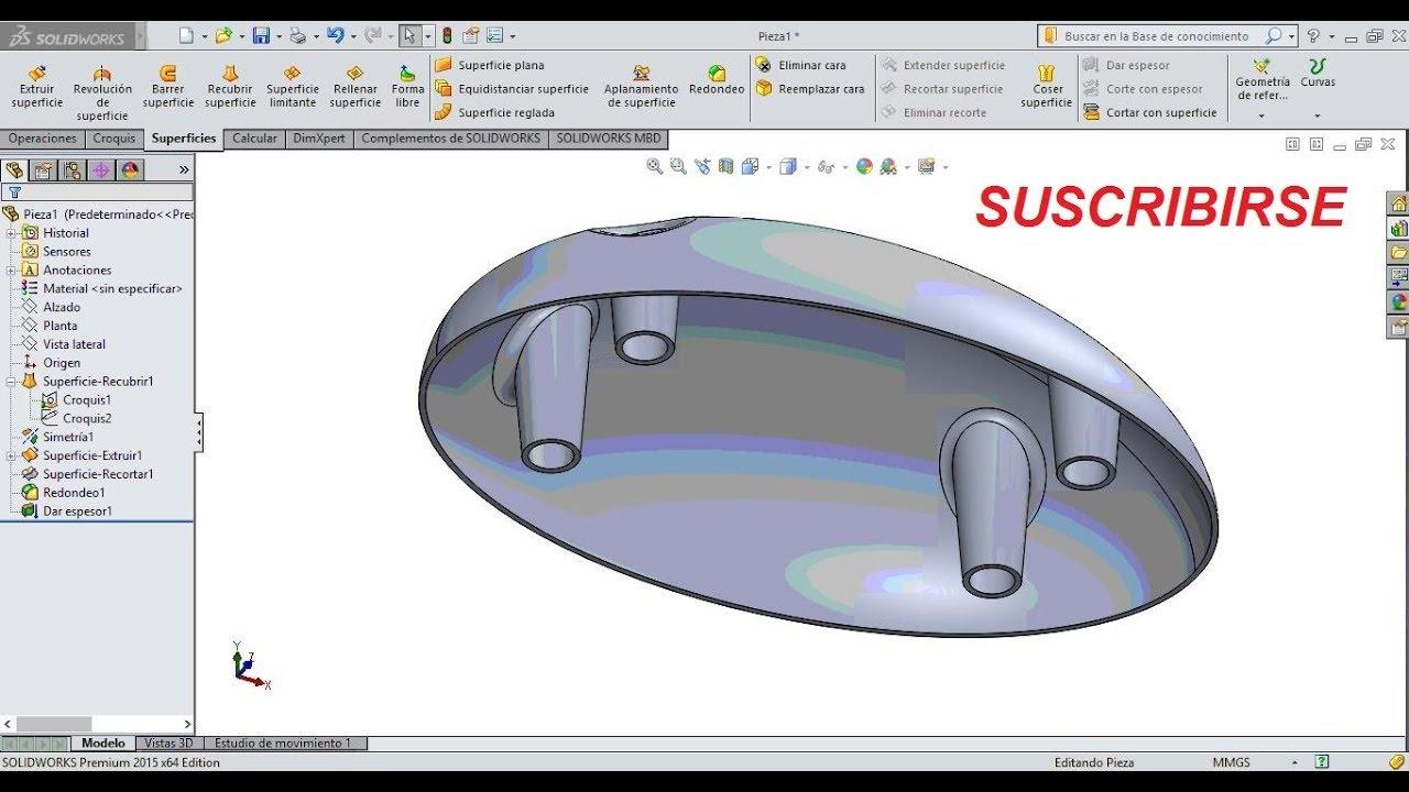 Tutorial Solidworks 16 recubrir superficie, superficie plana y coser ...