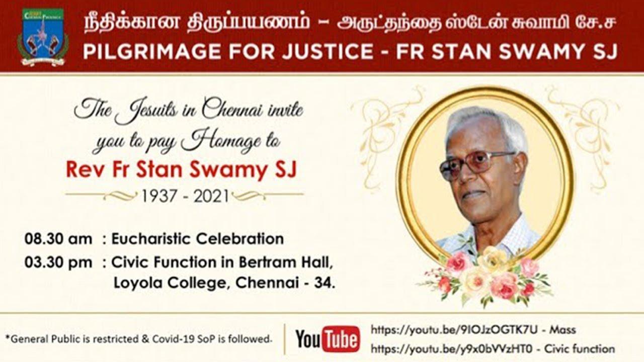 🔴🅻🅸🆅🅴 || MK Stalin - Homage to Fr Stan Swamy SJ - Jesuit Communities in Chennai