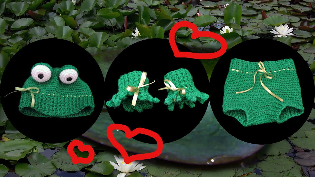 Frosch Look Baby Garnitur Häkeln Crochet Youtube