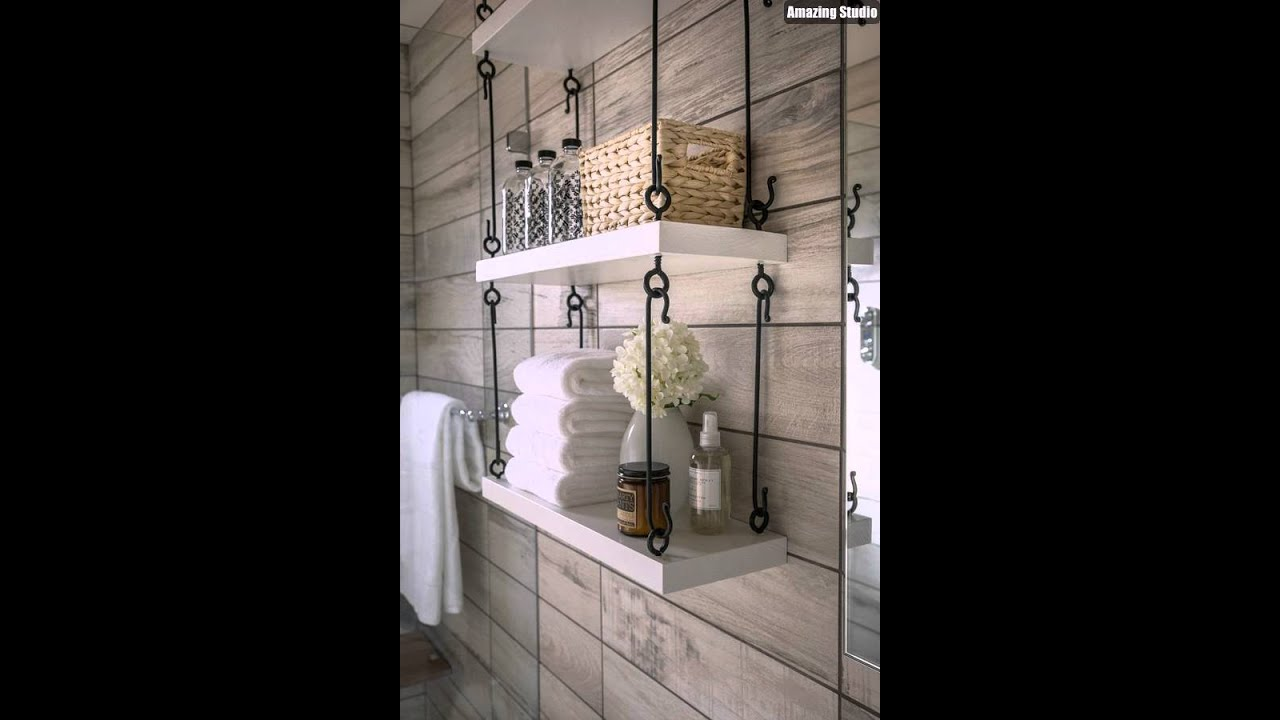 Modern DIY Hanging Bathroom Shelves - YouTube