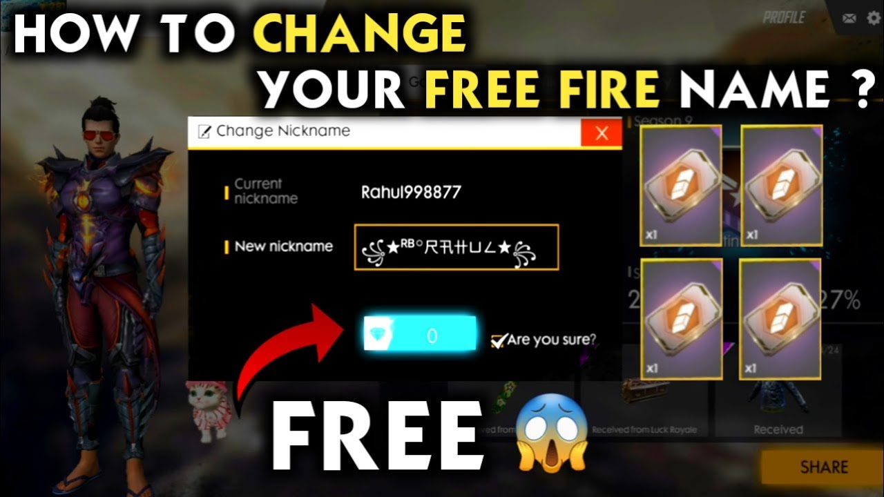 HOW TO CHANGE NAME IN FREE FIRE FOR FREE 😍 HOW TO WRITE STYLISH NAME IN  FREE FIRE