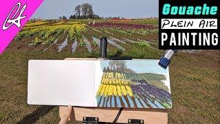 Plein Air Painting Tulip Fields with Gouache