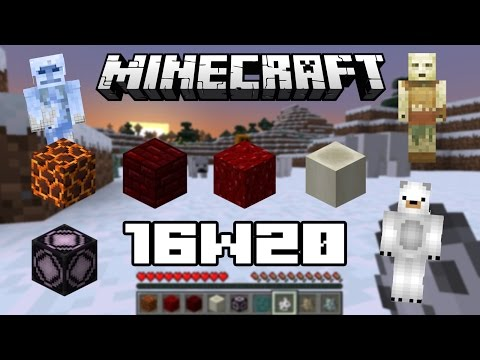 Minecraft 1.10 16w20 - Ours, fossiles, magma, mine d'or, gravité