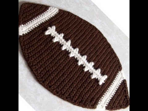 Crochet Pattern For Football Blanket : Crochet Football Placemat Tutorial Part 1 - YouTube