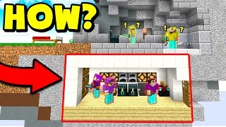 100% SECRET UNDERGROUND MINECRAFT HOUSE BASE! (Minecraft BED WARS Trolling)