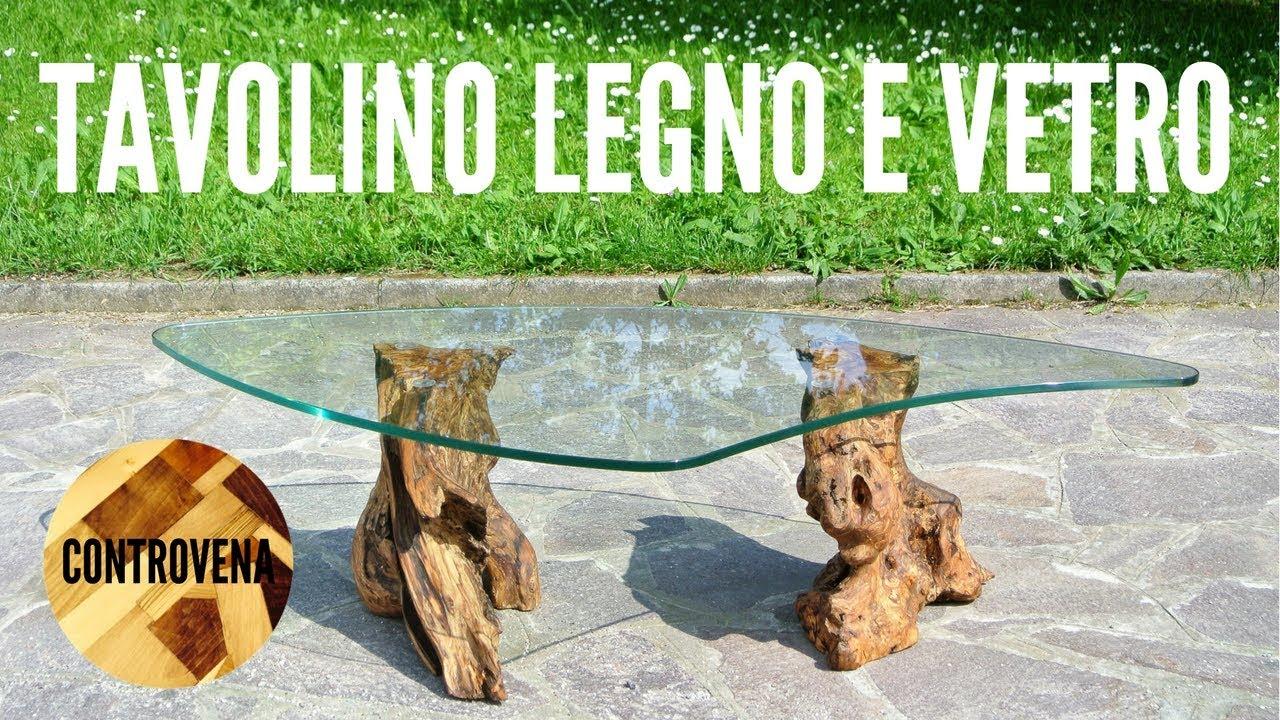 Ceppo Di Legno Tavolino tavolino in legno e vetro - fai da te