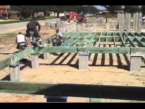 Raised wood floor foundations site prep footings youtube for Raised foundation types