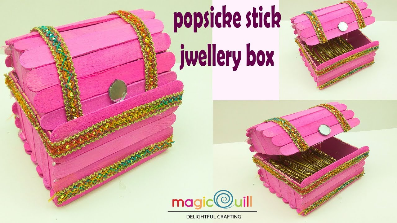 How To Make Popsicle Stick Jwellery Box Popsicle Stick Craft Ideas Art And Craft Ideas