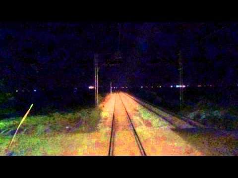 Train Driver's view: railroad in Serbia from Putinci to Ruma ,  u nocnoj smeni - SERBIAN RAILWAYS
