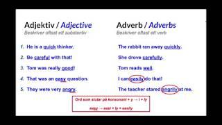Engelsk grammatik - Adjektiv & Adverb