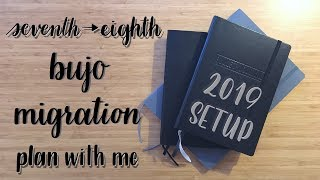 Plan With Me | Migration Process | 2019 Setup | Seventh into Eighth Bullet Journal