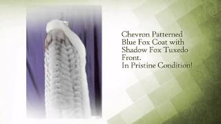 Chevron Patterned Blue Fox Coat with Shadow Fox Tuxedo Front - www.dayfursinc.com