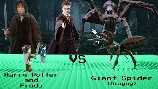Harry Potter and Frodo vs Giant Spider (Aragog) - Lego Stop Motion