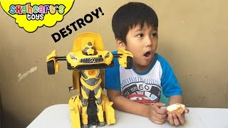 Transforming ROBOT CAR | Attacking our other rc car toys for kids Bumblebee Remote Control