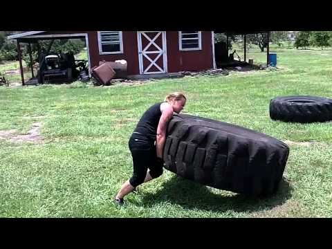 140lb Rhonda Grimes flips 500lb tire on first try