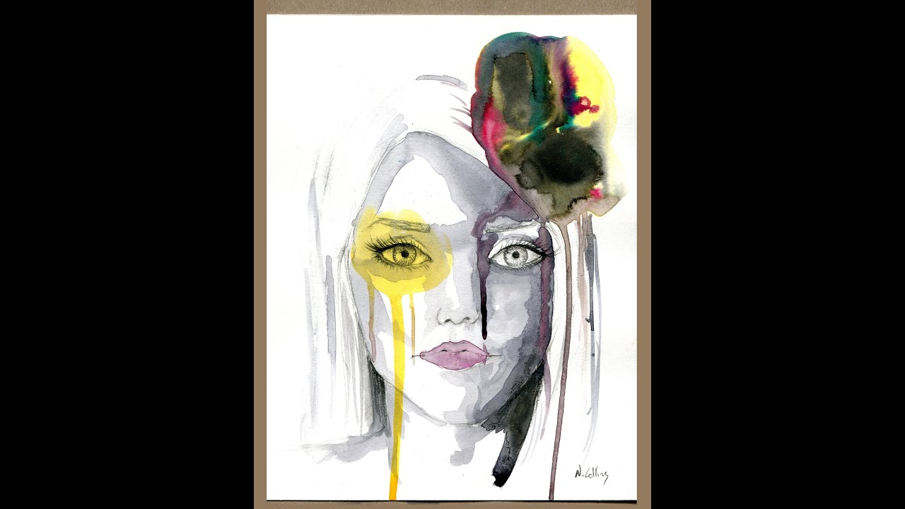 abstract fashion face ink and charcoal painting youtube
