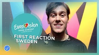 First reaction of Benjamin Ingrosso from Sweden after winning Melodifestivalen