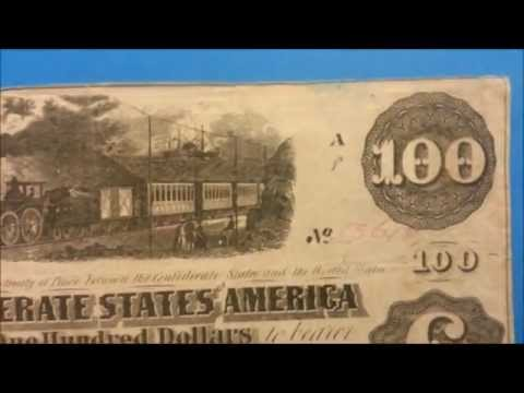 $100 1862/63 Confederate States Note - Rare Large Size Note - US CURRENCY COLLECTION