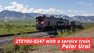 2TE10U-0247 with a service train, Polar Ural