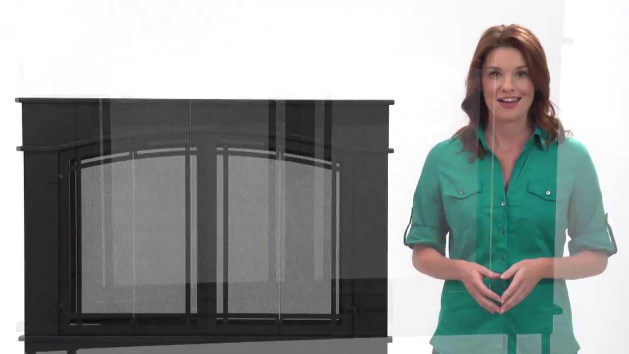 Pleasant Hearth Fieldcrest Glass Firescreen Youtube