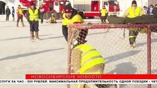 Новосибирские пожарные и спасатели сыграли в хоккей в валенках