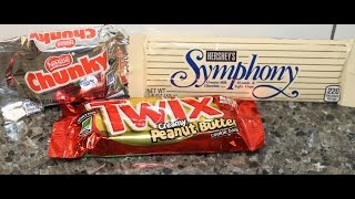 Nestle Chunky, Hershey's Symphony & Twix Creamy Peanut Butter Candy Bar Review