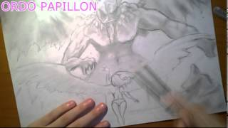 Drawing: Angel and demon battle