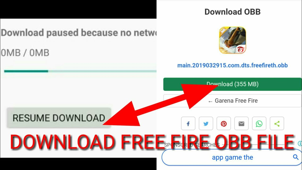 How to download free fire obb file/download paused because no network is  available free fire play st