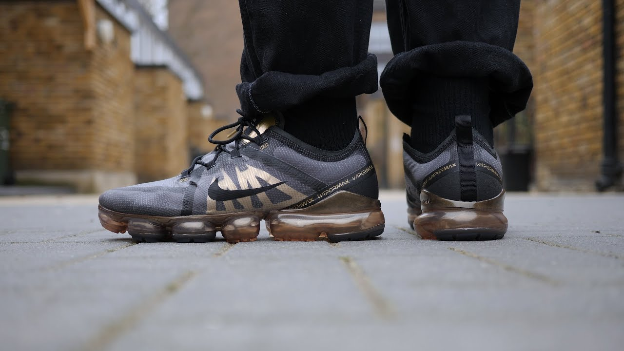 30af8118441b Nike Air VaporMax 2019 Quick Look   On Feet (Black Gold) - YouTube