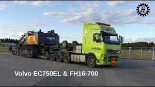 Loading a Volvo EC750EL on a Volvo FH16-700 with 5-axles VM trailer