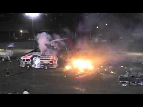 indio monster truck show 4/7/2012 Raging Inferno the jet firetruck melts car