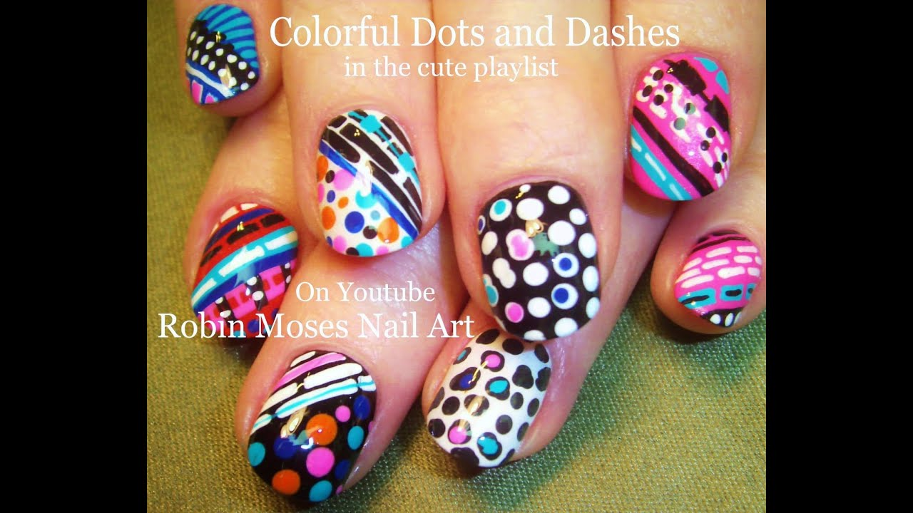 Nail Art Tutorial | Stripes and Polka DOT Nails | Fun and Crazy Nail ...