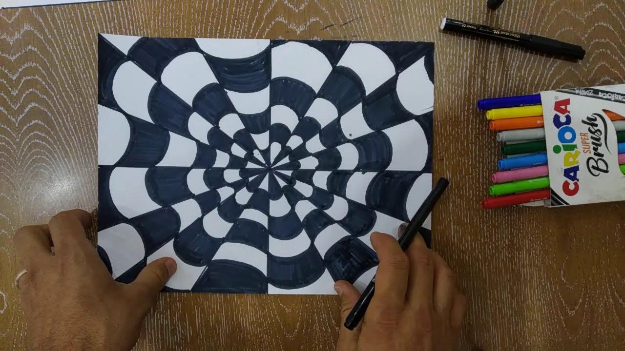 Optik İllüzyon Nasıl Çizilir - How to Draw Optical Illussion??