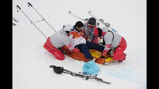 Japan's Yuto Totsuka taken away on stretcher after violent crash