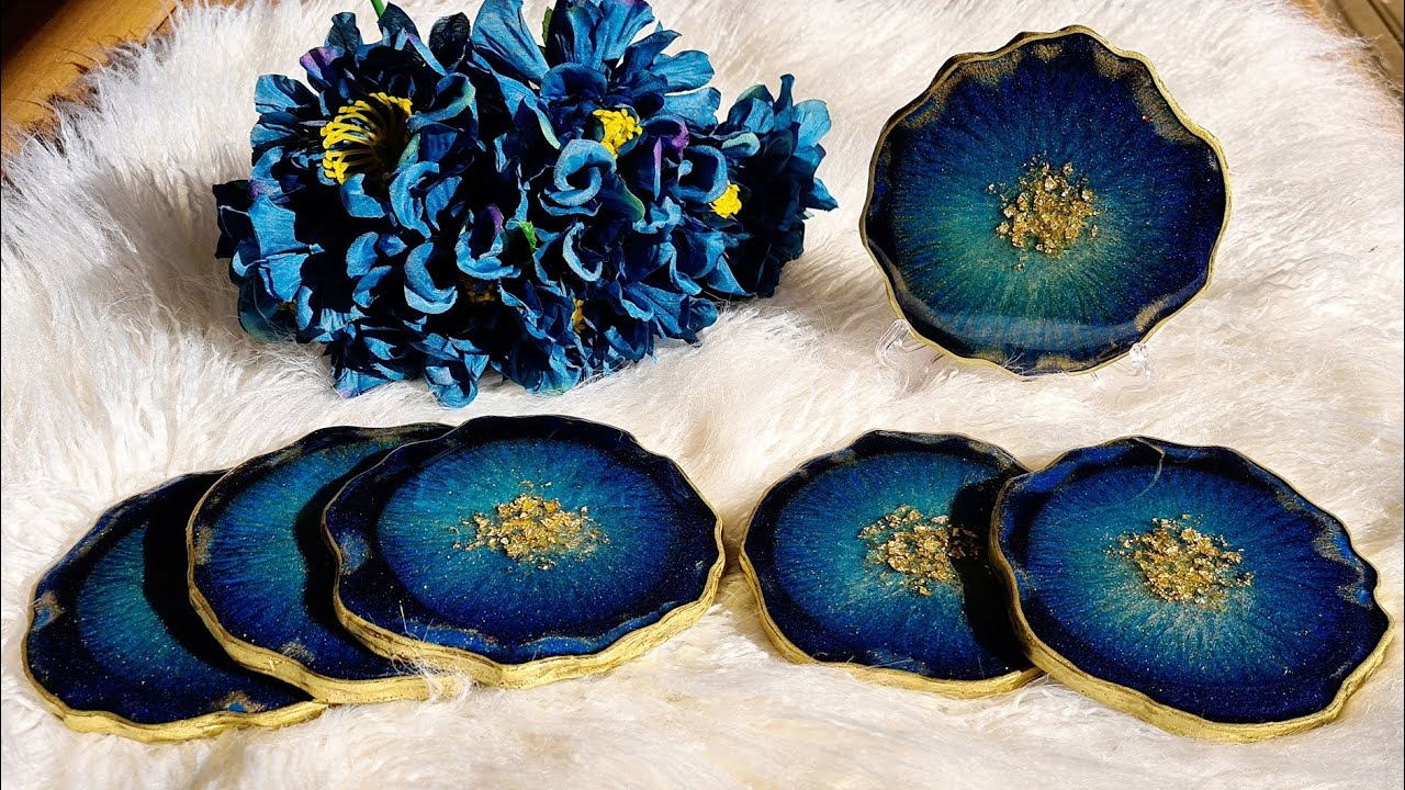 #925 Gorgeous Teal And Gold Geode Resin Coasters In My Home Made Silicone Mold