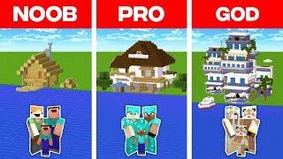 Minecraft NOOB vs. PRO vs. GOD: FAMILY VACATION HOUSE BUILD CHALLENGE in Minecraft (Animation)
