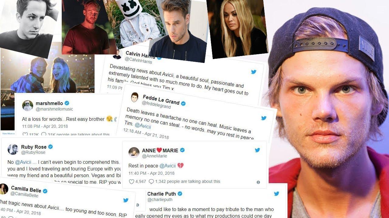 Celebrity Reactions To Aviciis Tragic  E  Bb Celebrities Pay Tribute To Avicii